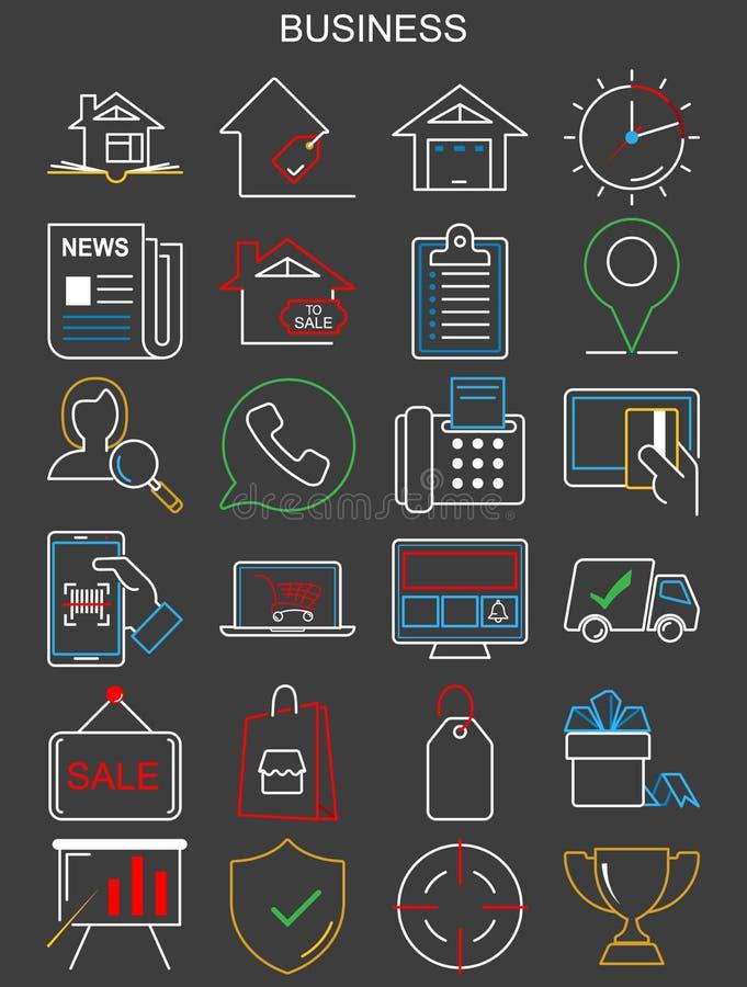 Icone di affari Linea sottile mini colpo editabile di vettore royalty illustrazione gratis