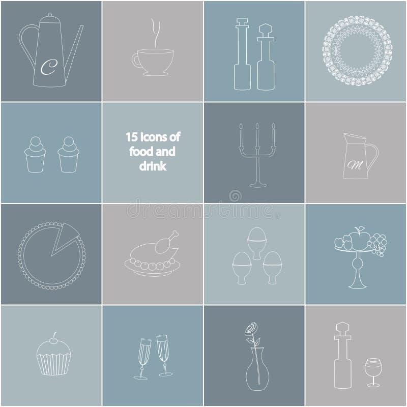 15 icone di alimento, della bevanda e degli articoli illustrazione vettoriale