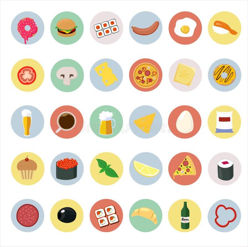 Icone di alimento sui giri di colore royalty illustrazione gratis