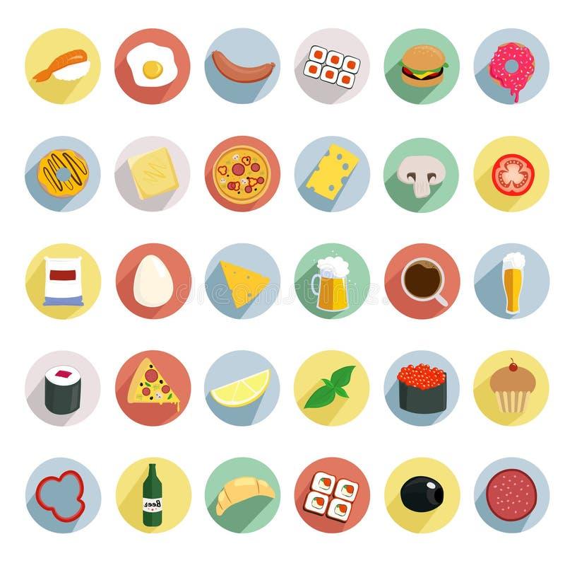 Icone di alimento sui giri di colore illustrazione vettoriale