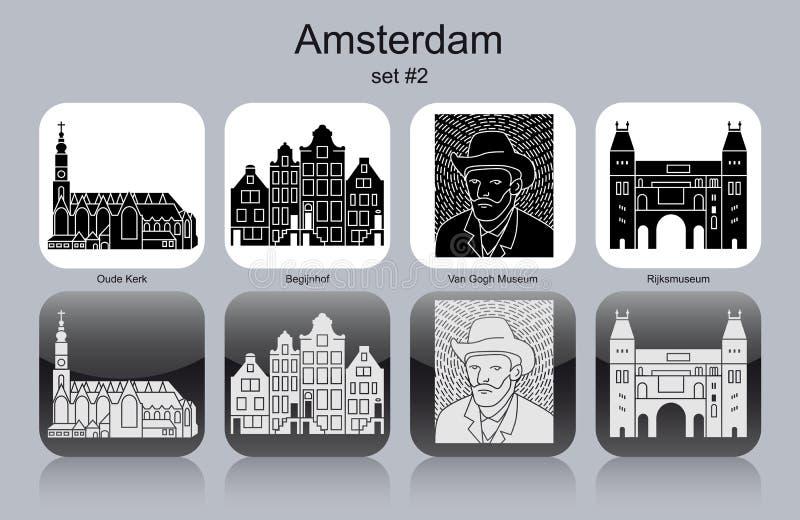 Icone di Amsterdam royalty illustrazione gratis