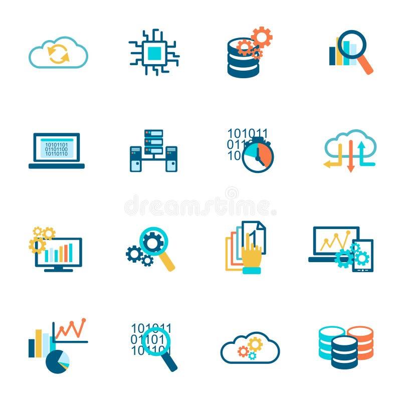 Icone di analisi dei dati della base di dati piane illustrazione di stock