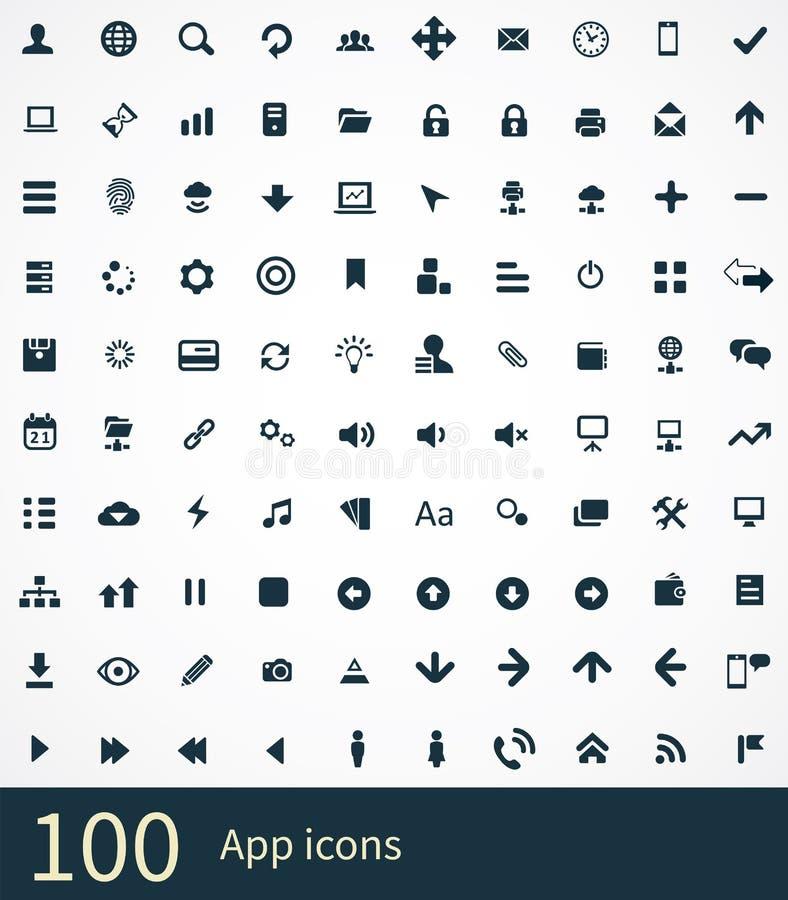 100 icone di app illustrazione di stock