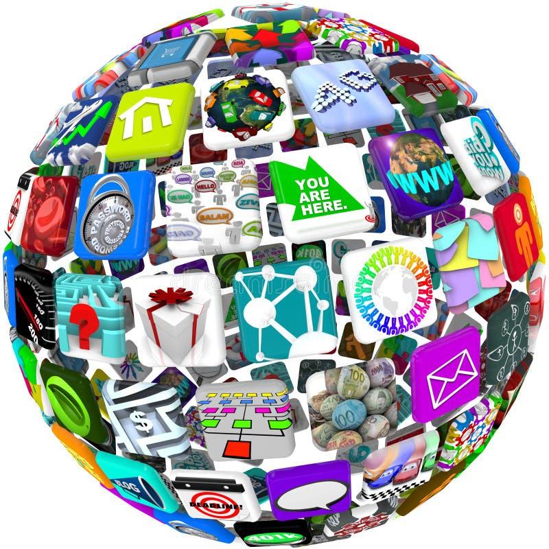Icone di App in un reticolo della sfera royalty illustrazione gratis