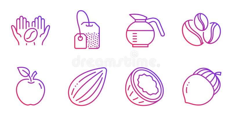 Icone di Apple, Coconut e dado di mandorle Segnaletica per il tè, il caffè e il caffè Vettore royalty illustrazione gratis