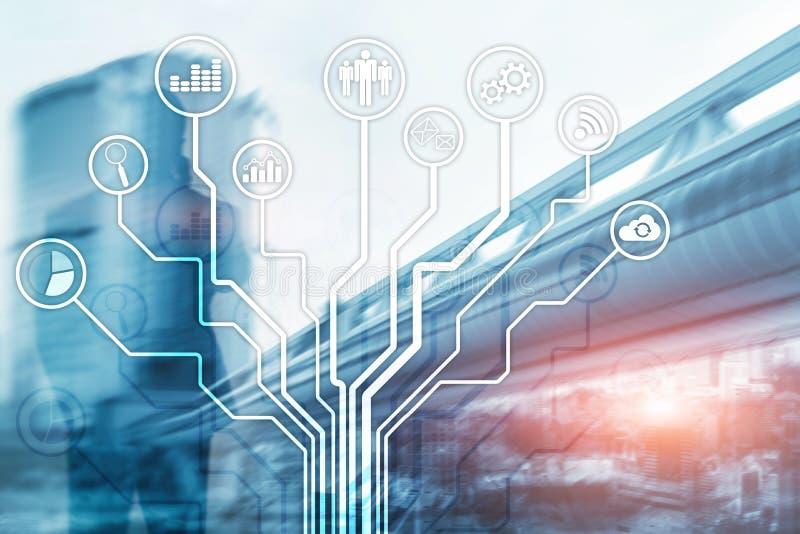 Icone di applicazioni gestionali su fondo vago Finanziario e vendere Concetto di tecnologia di Internet illustrazione vettoriale