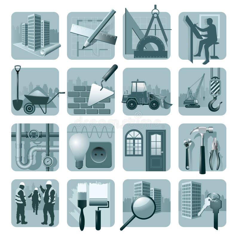Icone di architettura & della costruzione illustrazione vettoriale