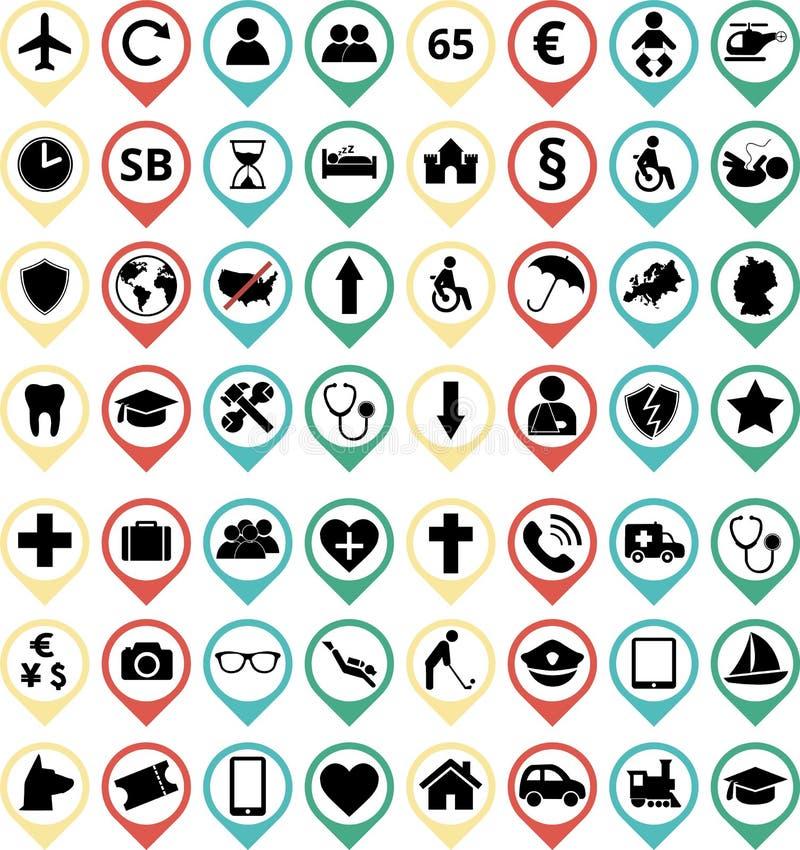 Icone di assicurazione illustrazione di stock