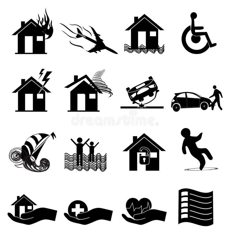 Icone di assicurazione impostate royalty illustrazione gratis