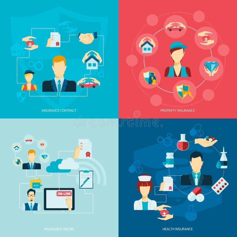Icone di assicurazione piane royalty illustrazione gratis
