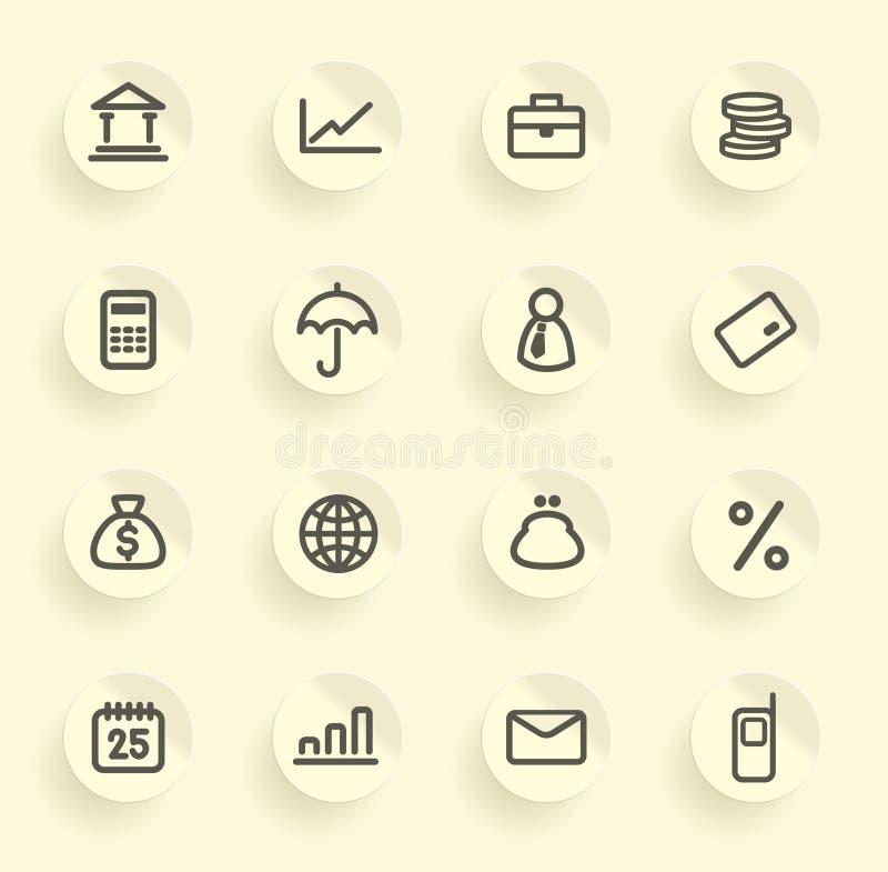 Icone di attività bancarie e di finanze impostate illustrazione vettoriale