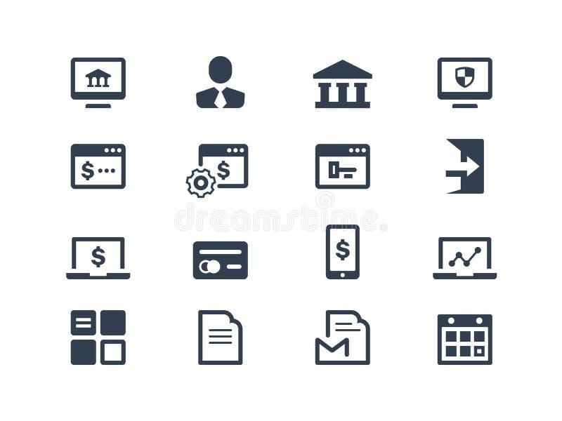 Icone di attività bancarie online illustrazione vettoriale