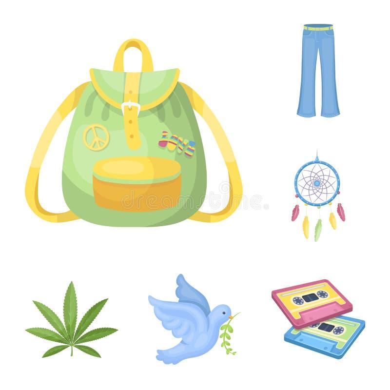 Icone di attributo e felici del fumetto nella raccolta dell'insieme per progettazione Web degli accessori e felice di vettore di  illustrazione di stock