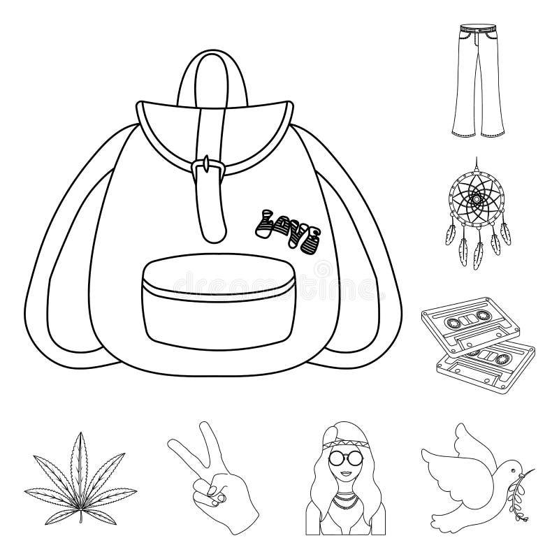 Icone di attributo e felici del profilo nella raccolta dell'insieme per progettazione Web degli accessori e felice di vettore di  illustrazione di stock