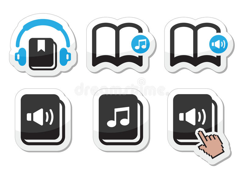 Icone di audiolibro messe royalty illustrazione gratis