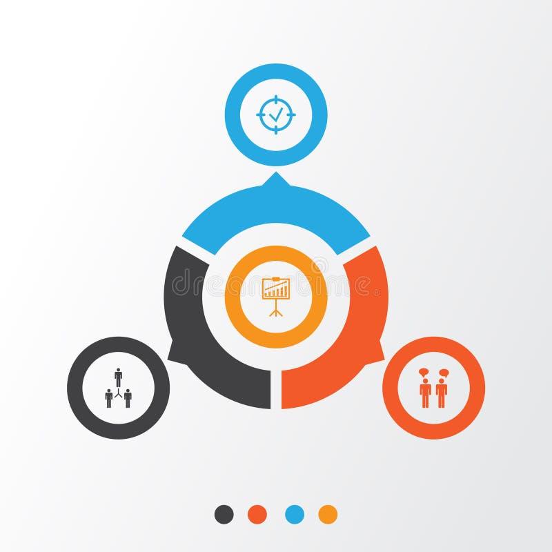 Icone di autorità messe Raccolta dell'obiettivo approvato, dimostrazione di rapporto, Team Meeting And Other Elements Inoltre inc illustrazione vettoriale