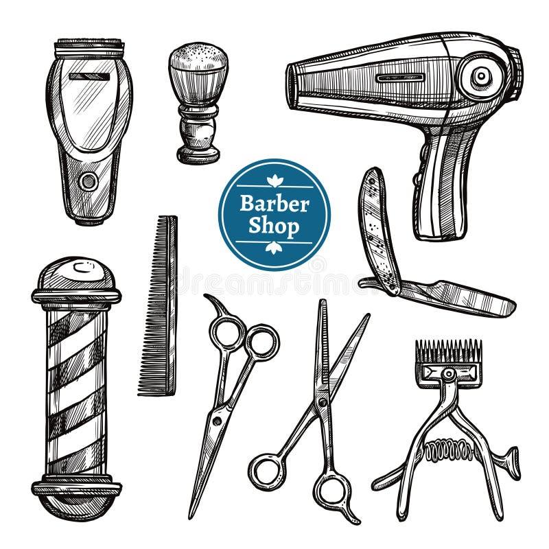 Icone di Barber Shop Set Doodle Sketch illustrazione vettoriale