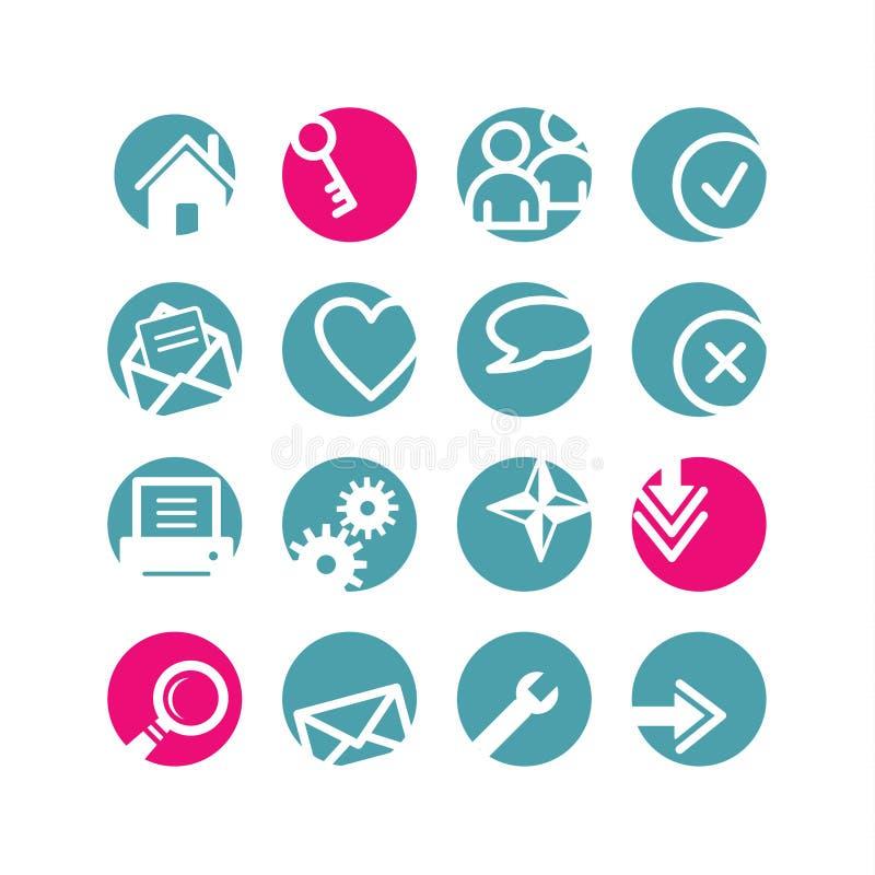 Icone di base di Web del cerchio illustrazione vettoriale