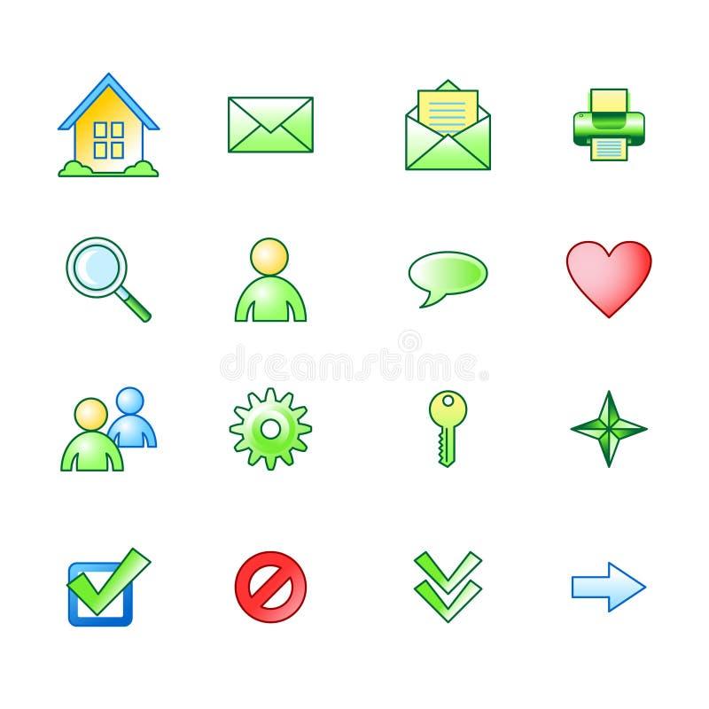 Icone di base di Web della sorgente impostate illustrazione di stock