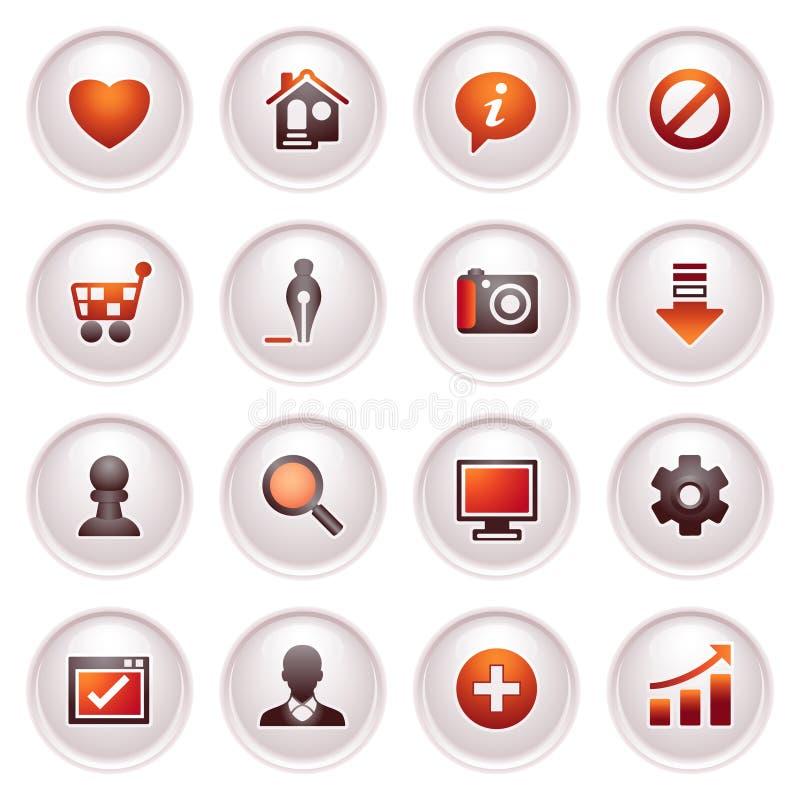 Icone di base di Web. Serie rossa nera. illustrazione vettoriale