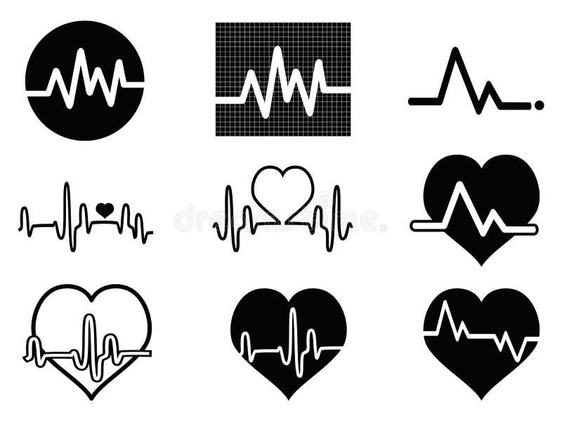 Icone di battito cardiaco illustrazione vettoriale