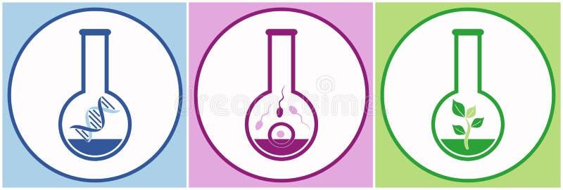 Icone di biologia illustrazione vettoriale