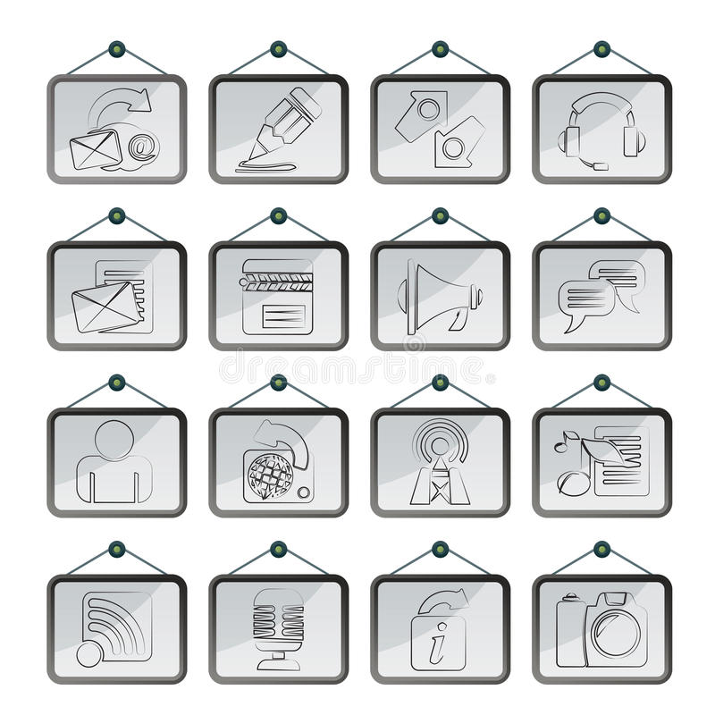Icone di blogging, di comunicazione e della rete sociale illustrazione di stock