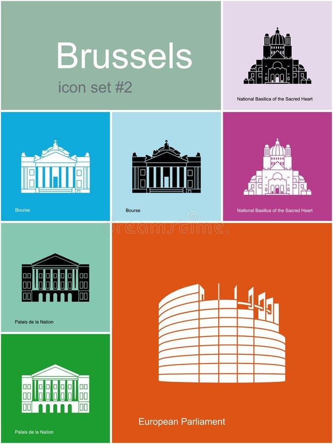 Icone di Bruxelles illustrazione vettoriale
