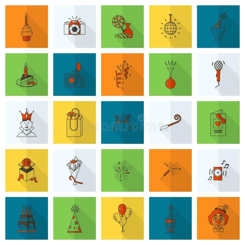 Icone di buon compleanno messe illustrazione vettoriale