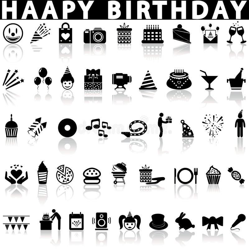 Icone di buon compleanno messe illustrazione di stock