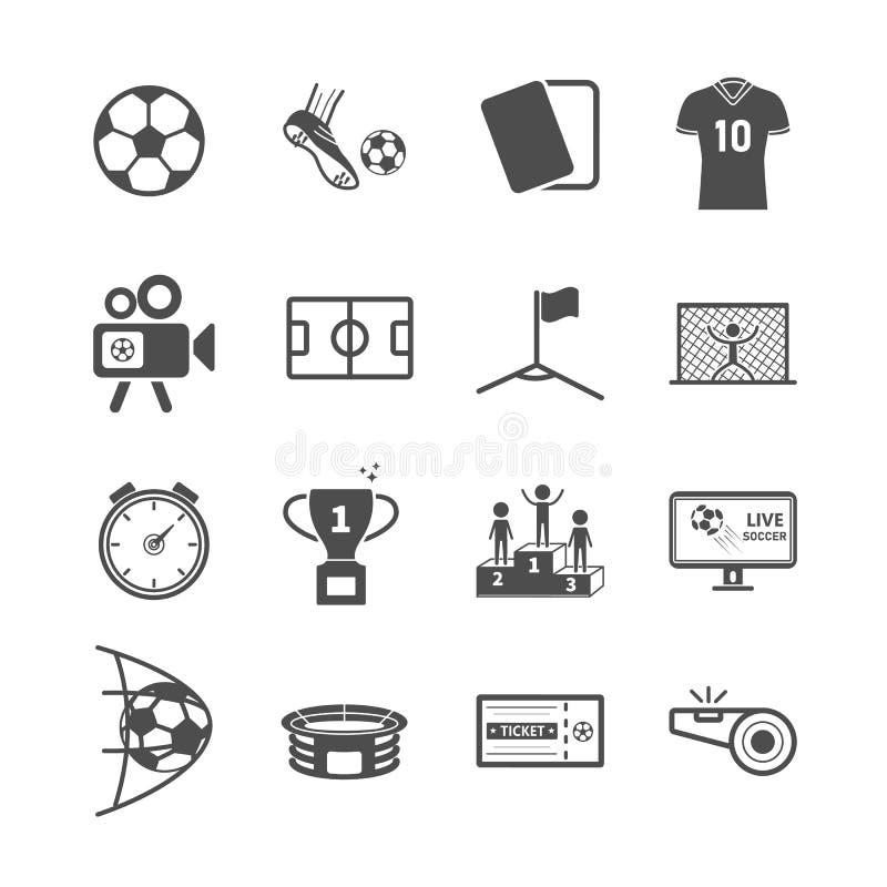 Icone di calcio e di calcio Gioco di sport e concetto di attività Tema delle icone del colpo dei profili e di glifo Grafico dell' illustrazione vettoriale