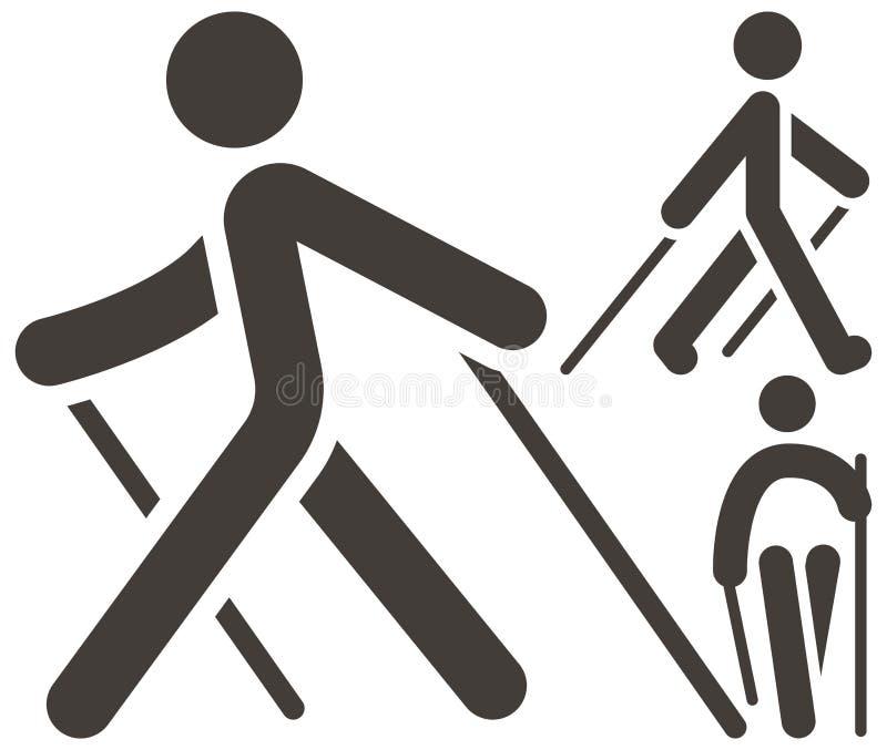 Icone di camminata del nordico royalty illustrazione gratis