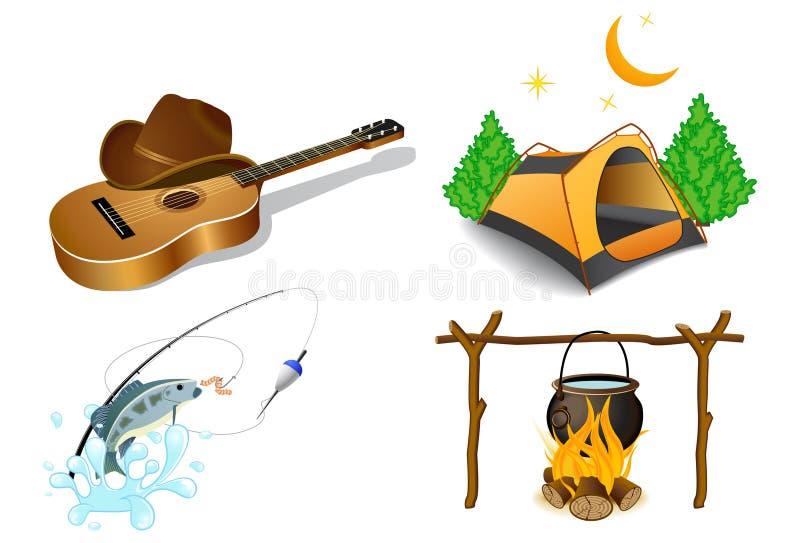 Icone di campeggio 2 royalty illustrazione gratis