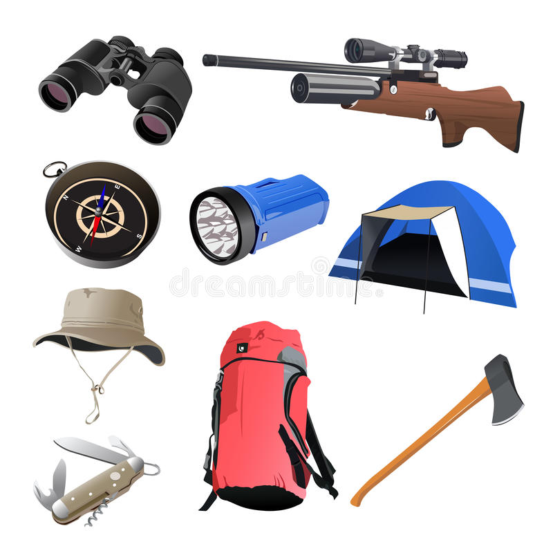 Icone di campeggio illustrazione di stock