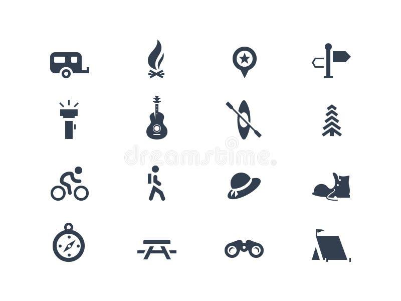 Icone di campeggio royalty illustrazione gratis