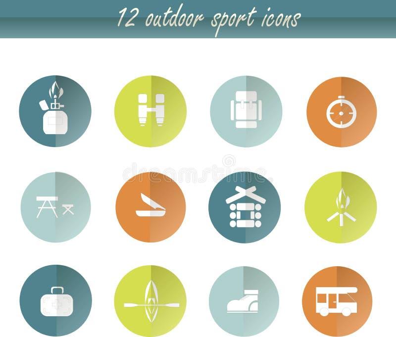 Icone di campeggio del giro piano, segni bianchi su verde, arancio, blu, grafici Elemento di disegno illustrazione vettoriale