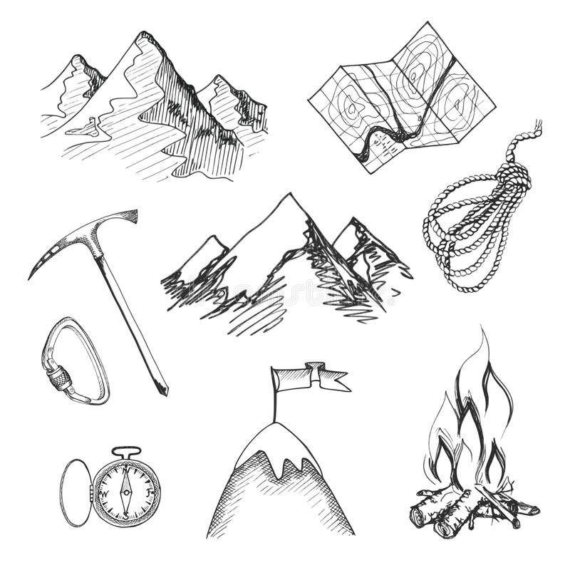 Icone di campeggio di scalata di montagna illustrazione di stock