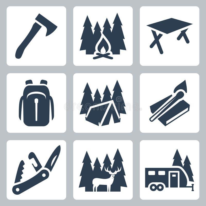 Icone di campeggio di vettore messe illustrazione di stock