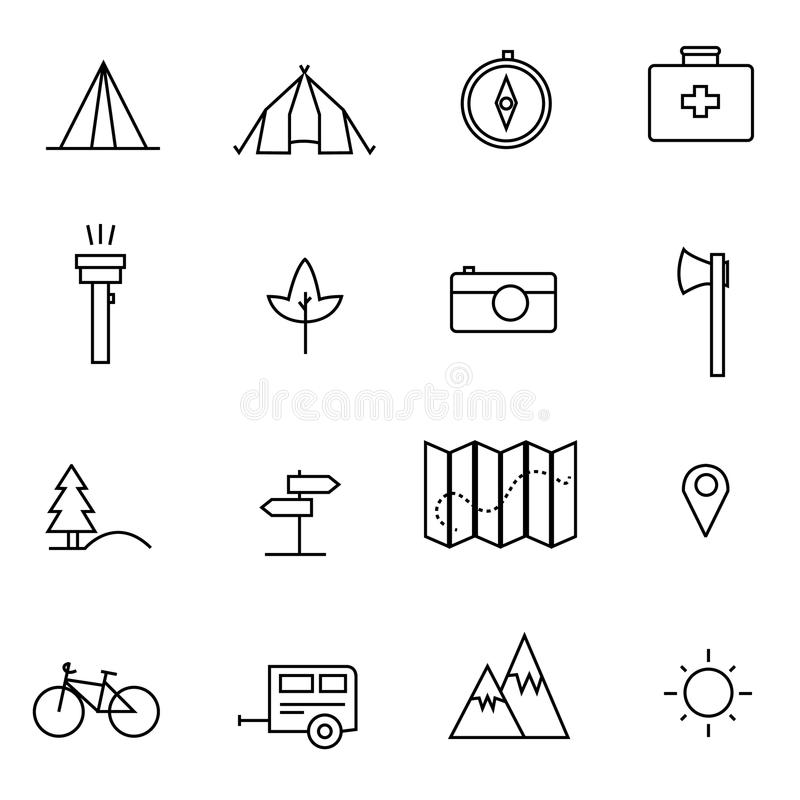 Icone di campeggio, di escursione, della natura & di attività all'aperto illustrazione di stock