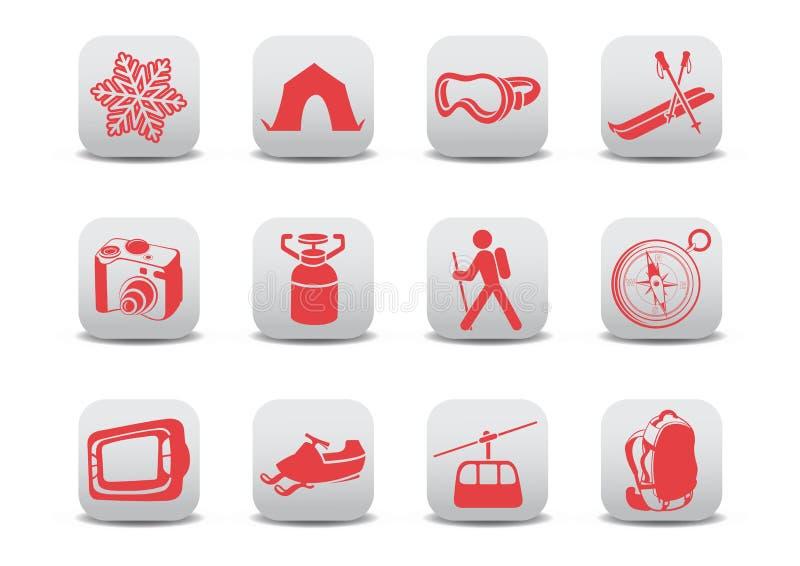 Icone di campeggio/pattino di inverno illustrazione di stock