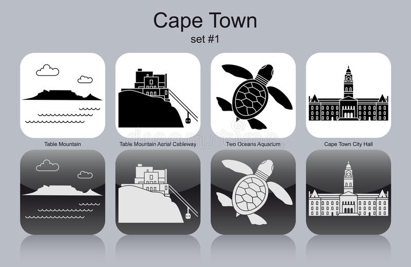 Icone di Cape Town illustrazione di stock