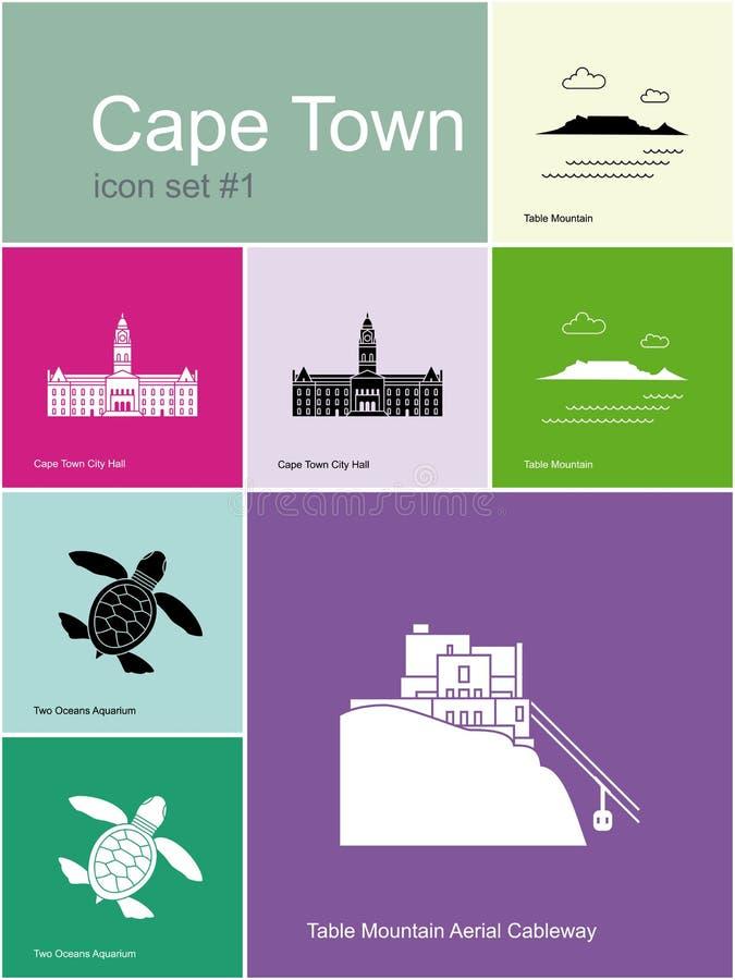 Icone di Cape Town illustrazione di stock
