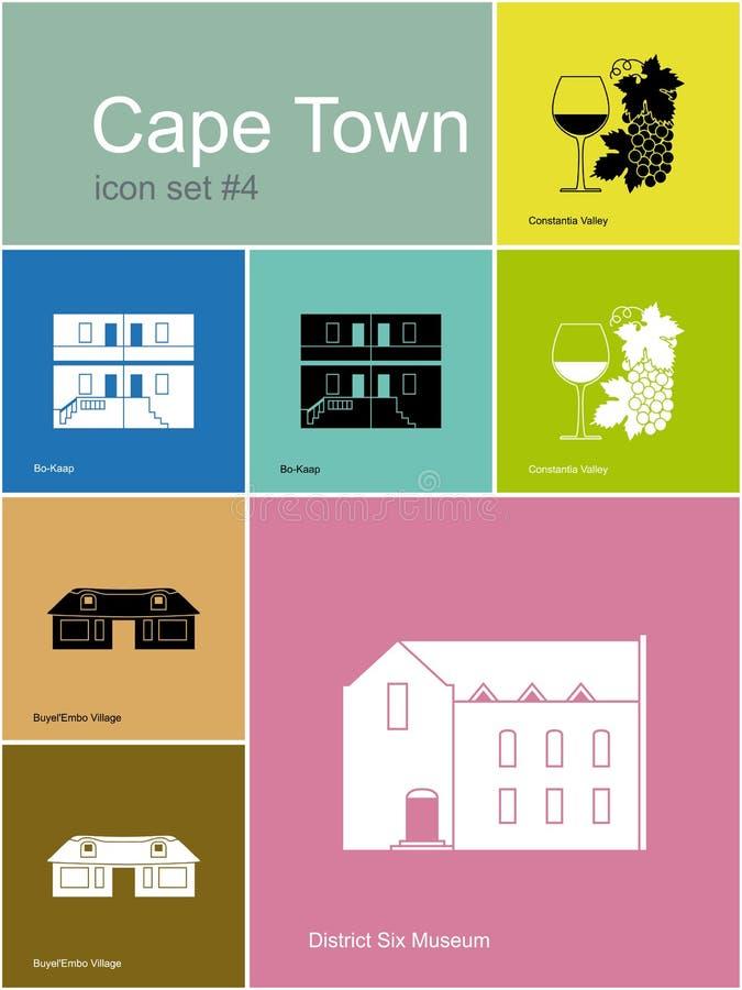 Icone di Cape Town illustrazione vettoriale