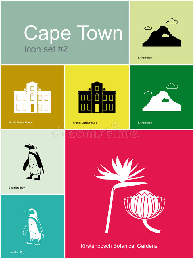 Icone di Cape Town illustrazione vettoriale