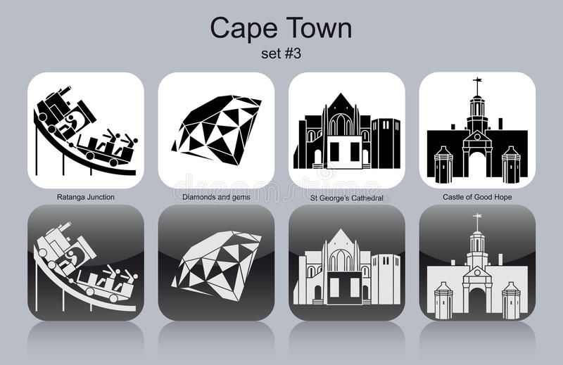 Icone di Cape Town royalty illustrazione gratis