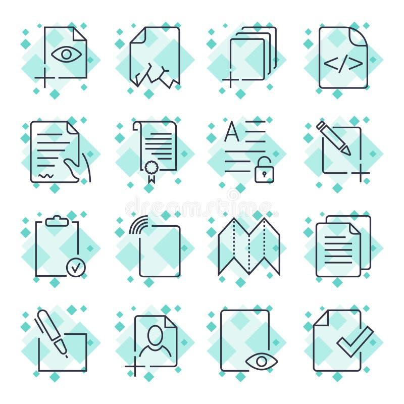Icone di carta, icone del documento, vettore EPS10 Colpo editabile illustrazione vettoriale