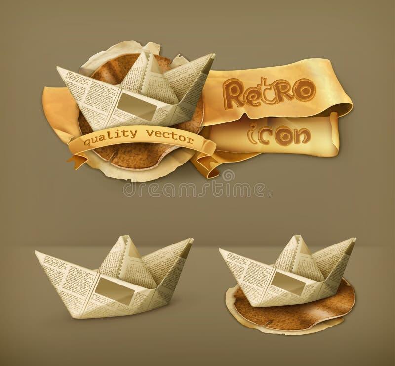 Icone di carta delle barche illustrazione di stock