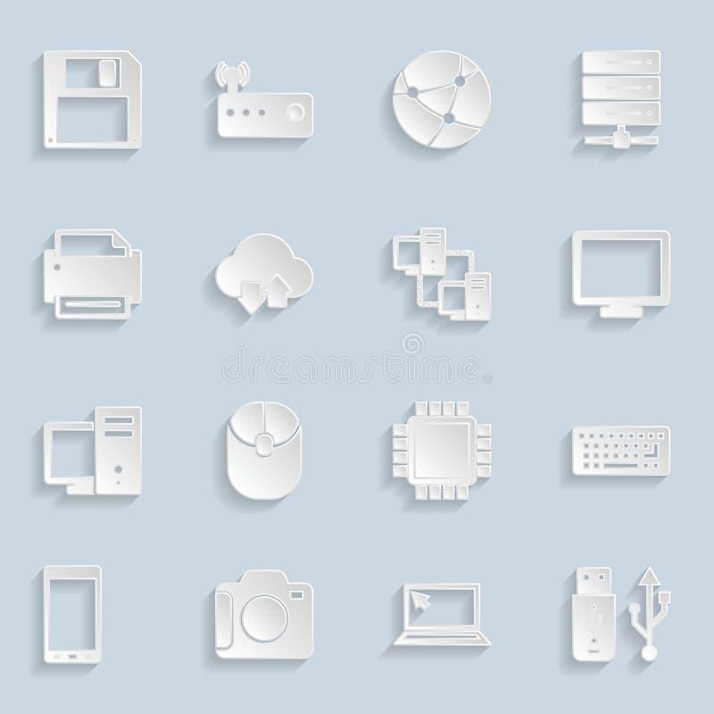 Icone di carta di tecnologia messe illustrazione di stock