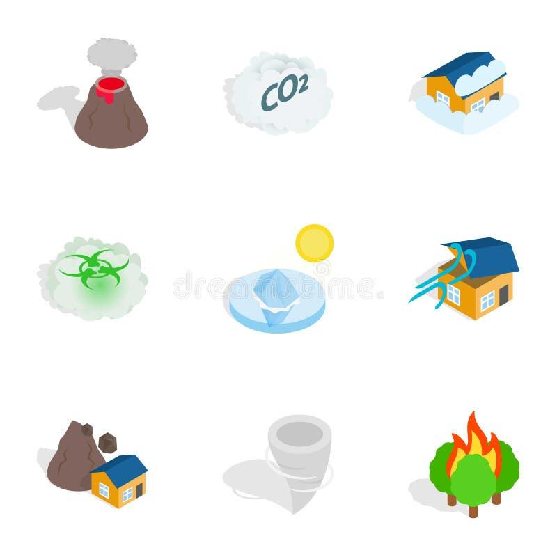 Icone di catastrofe, stile isometrico 3d royalty illustrazione gratis
