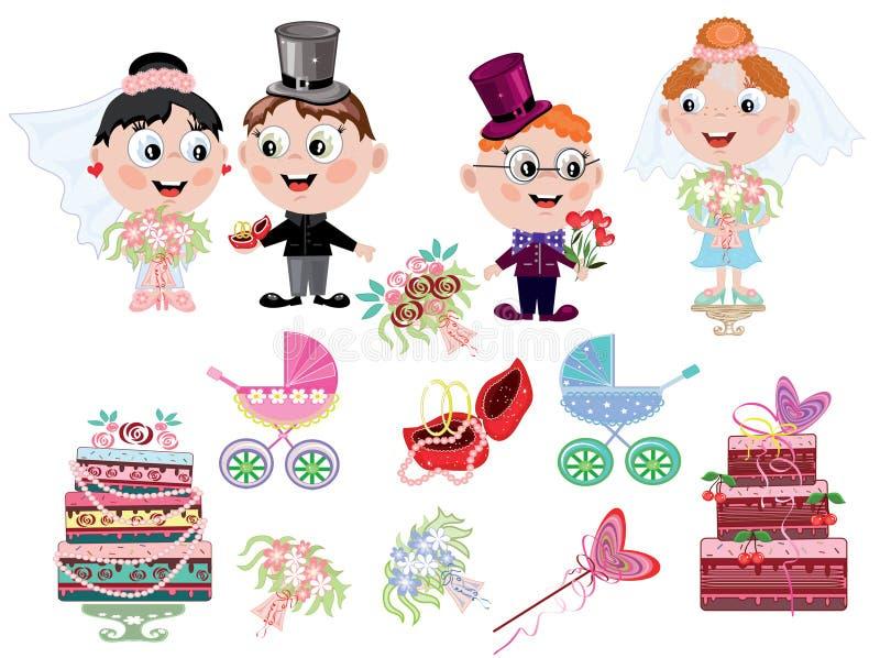 Icone di cerimonia nuziale royalty illustrazione gratis